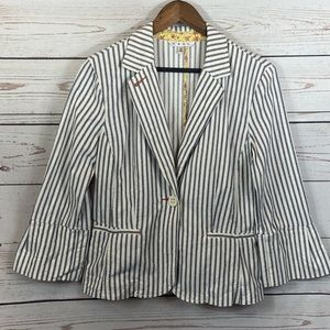 CAbi. Ole Striped Ticking Blazer. Bell Quarter